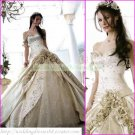 Free Shipping  Strapless Champagne Satin Bridal Gown Lace Beaded Flowers Wedding Dress L41