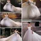 Free Shipping  Cap Sleeves White Organza Applique Beaded A-line Cathedral Train Wedding Dress L38