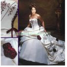 Free Shipping  Strapless White Satin Bridal Gown Embroidery Beaded Flowers Wedding Dress L35