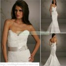 Free Shipping  Strapless White Lace Champagne Belt Beaded Mermaid Wedding Dress L34