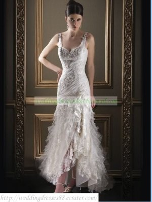 Free Shipping Double Straps White Lace Organza Ruffled Applique Beaded A-line Wedding Dress L31