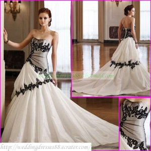 Free Shipping  Strapless White Taffeta Black Organza Applique Lace Beaded A-line Wedding Dress L33