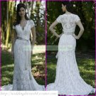 Free Shipping  Short Sleeves White Lace Gray Belt Beaded  Mermaid  Wedding Dress L28