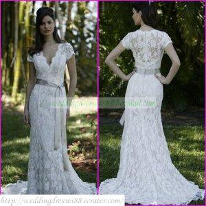 Shipping Short Sleeves White Lace Gray Belt Beaded Mermaid Wedding ...