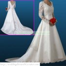 Free Shipping  Long Sleeves White Satin Gown Applique Beaded A-line Wedding Dress L26
