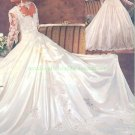 Free Shipping Long Sleeves White Satin Lace Bridal Gown  Applique Beaded A-line Wedding Dress L25