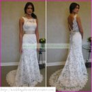 Free Shipping  Double Straps White Lace Champagne Belt Beaded  A-line Wedding Dress L15