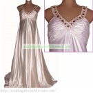 Free Shipping Double Straps White Stretch Satin Bridal Gown Empire Maternity Beaded Wedding Dress