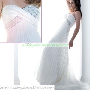 Free Shipping Strapless White Chiffon Ruffled Bridal Gown Empire Maternity  Beaded Wedding Dress