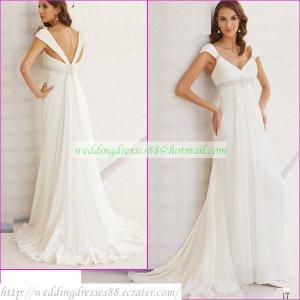 Free Shipping Cap Sleeves White Chiffon Bridal Gown Empire V-neck Maternity Beaded Wedding Dress