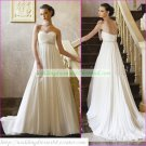 Free Shipping Strapless White Chiffon Bridal Gown Empire Maternity  Beaded Wedding Dress H037