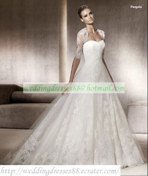 Free Shipping Strapless White Organza Bridal Gown Applique Lace Ruffled Beaded Wedding Dress Pergola