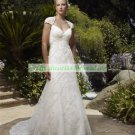 Free Shipping 2012 Cap Sleeves  White Lace  Bridal Gown A-line Beaded Wedding Dress
