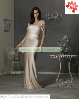 Free Shipping Long Sleeves Lace Jacket Champagne Satin Floor-length the Mother of  Bridal Dress 1