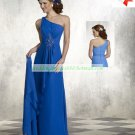 Free Shipping One Shoulder Blue Chiffon Ruffled Beaded the Mother of  Bridal Dress With Shawl 1(2)