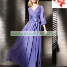 Free Shipping 3/4 Sleeves Purple Chiffon Ruffled Floor -Length the Mother of  Bridal Dress 1(7)