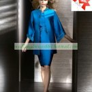 Free Shipping Long Sleeves Jacket Blue Satin Beaded Tea -Length the Mother of  Bridal Dress 1(9)