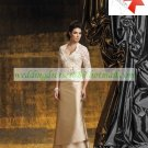 3/4 Sleeves Lace Beaded Jacet Champagne Satin Floor -Length the Mother of  Bridal Dress 1(14)