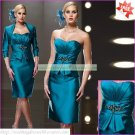 Free Shipping 2012 3/4 Sleeves Jacket Blue Satin Ruffled Beaded the Mother of  Bridal Dress 1(22)