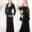 Free Shipping Long Sleeves Jacket Black Chiffon Ruffled Beaded the Mother of  Bridal Dress 1(23)