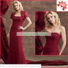 Free Shipping Short Sleeves Lace Jacet Red Chiffon Ruffled Beaded the Mother of  Bridal Dress 1(49)