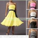 Free Shipping Strapless White Yellow Pink Chiffon Ruffled Bridesmiad Dress Cocktail Dress