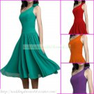 Free Shipping One Shoulder Green Red Purple Chiffon Ruffled Bridesmiad Dress Cocktail Dress