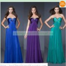 Free Shipping Strapless Blue Purple Green Ruffled Beaded Bridesmiad Dress Evening Dress