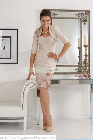 Free Shipping Mid-Sleeves Jacet Gray pink Taffeta Ruffled Hand Flowers the Mother of  Bridal Dress