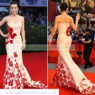 Free Shipping 2012 Hot Sale Strapless Pink Satin Embroider Beaded Evening Dress Party Dress