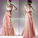 Free Shipping One Shoulder Pink Chiffon Party Dress Prom Dress Pleated Bridesmaid Dress