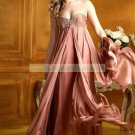 Free Shipping 2012 Strapless Little Coffee Chiffon  Applique Beaded Empire Party Dress Prom Dress