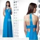 2012 Free Shipping Halter Blue Chiffon Ruffled Beaded Empire Maternity Evening Dress Party Dress