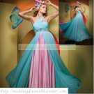 Free Shipping One Shoulder Blue Chiffon Pink Satin Ruffled Beaded Empire Maternity Evening Dress