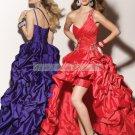 Free Shipping One Shoulder Purple Red Taffeta Ruffled Beaded Evening Dress Party Dress