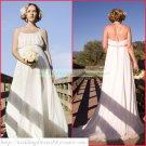 2011 Free Shipping Halter White Chiffon Empire Maternity Bridal Gown Beaded Wedding Dress