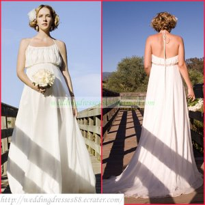 2011 Free Shipping Halter White Chiffon Empire Maternity Bridal Gown Beaded Wedding Dress