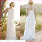 Free Shipping Double Straps White Chiffon Empire Maternity Bridal Gown Lace Beaded Wedding Dress