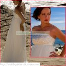Free Shipping Strapless White Chiffon Empire Maternity Bridal Gown Embroidery Beaded Wedding Dress