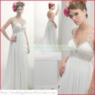 Free Shipping Double Straps White Chiffon Empire Maternity Bridal Gown Ruffled Beaded Wedding Dress