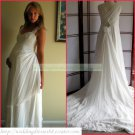 Free Shipping Double Straps White Chiffon Empire Maternity Bridal Gown  Beaded Wedding Dress H021