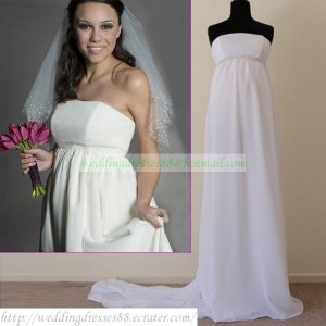 2011 Free Shipping Strapless White Chiffon Empire Maternity Bridal Gown Beaded Wedding Dress