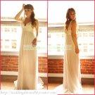 Free Shipping Double Straps White Chiffon Empire Maternity Bridal Gown Ruffled Flower Wedding Dress