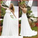2011 Free Shipping Strapless White Chiffon Empire Maternity Bridal Gown Ruffled Beaded Wedding Dress