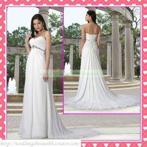 Free Shipping Strapless White Chiffon Empire Maternity Bridal Gown Ruffled Beaded Wedding Dress H043