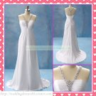 Free Shipping Halter White Chiffon Empire Maternity Bridal Gown Ruffled Beaded Wedding Dress H045