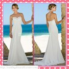 Free Shipping Strapless White Chiffon Empire Maternity Bridal Gown Ruffled  Beach Wedding Dress H046