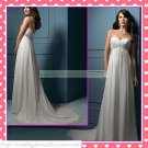 Free Shipping Strapless White Chiffon Empire Maternity Bridal Gown Ruffled Beaded Wedding Dress H049