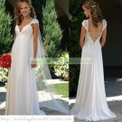 Free Shipping Cap Sleeves White Chiffon Empire Maternity Bridal Gown Ruffled Lace Wedding Dress