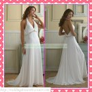 Free Shipping Halter White Chiffon Empire Maternity Bridal Gown Ruffled Beaded Wedding Dress H053